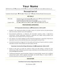 Objective For Resume For Receptionist