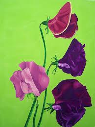 flower painting sweet peas by vlasta smola