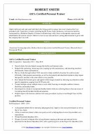 certified personal trainer resume