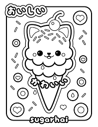 Coloring Pages Kawaii Ice Cream