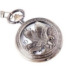 best pocket watches for men under 500 graciouswatch com 5 eagle design pocket watch chain quartz movement arabic numerals half hunter vintage design pw 65