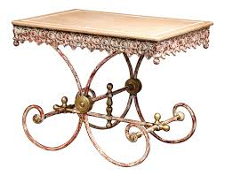 Painted French Iron Butcher Or Pastry Table With Marble Top And