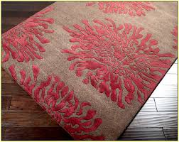 astonishing design of the red area rug with fl motive ideas with grey as the main