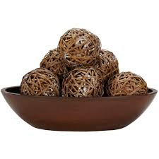 Decorative Balls For Bowl Nearly Natural 600600 in H Brown Decorative Balls Set of 6060002600 4