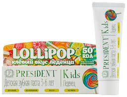<b>Зубная паста PresiDENT Kids</b> Lollipop леденец 3-6 лет 50 RDA ...