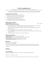 Sample Resume For Financial Analyst Entry Level Gallery