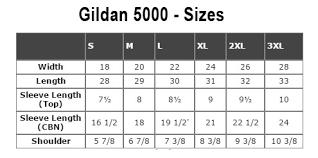 Gildan 5000 Size Chart Custom T Shirt Printing