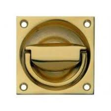 flush ring pull handle to operate 65 x 65 mm polished br finish flush ring pull