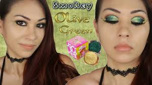 smokey olive green fall makeup ll peaches cream pigments