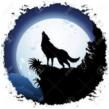 wolf howling. Simple Wolf Wolf Howling At Blue Moon On Grunge Frame To F