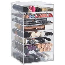sentinel beautify 8 tier clear acrylic cosmetics makeup storage display organiser drawers large makeup organizer with