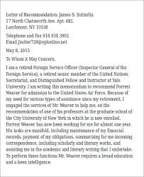Military Letter Recommendation Sample Air Force Letter Of Recommendation 6 Examples In