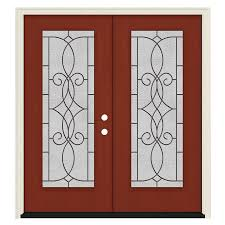 jeld wen full lite decorative glass left hand inswing black cherry stained fiberglass prehung double entry door with insulating core common 64 in x 80 in