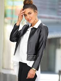 women s faux leather jacket with fantasy pearls on the bass