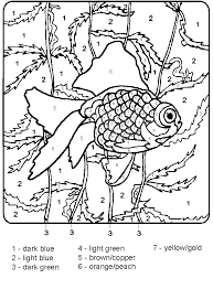 Small Picture Fish on the Water Color by Number Coloring Page Color by