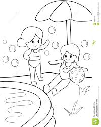 Filles Par La Piscine Page De Coloration D Enfant Illustration