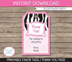 sleepover template slumber party favor tags thank you tags sleepover