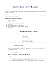 Writing A Resume For A Server Position Professional Resume Templates