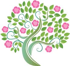 ピンクの花のイラストフリー素材no382夏の樹木緑ピンク
