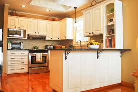 Painting Kitchen Unit Doors Kitchen Brown Cabinetry With Panel Appliances Also Drawers And