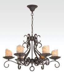iron 6 light fixture w antique gold candle covers