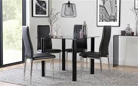 nova square black gl dining table with 4 leon black chairs chrome legs