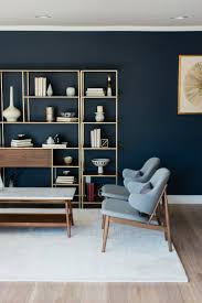 Living Room Decorating Feature Wall Dark Blue Feature Wall Living Room Lindye Galloway Design Mid