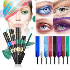 huamianli brand 3d curling waterproof color mascara cosmetics eye lashes extension red purple white cosplay mascaras