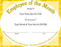 Employee Of The Month Template With Photo Free Employee Of The Month Certificate Template Pics Employee