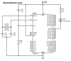 Circuit diagram led blinking with 8051 microcontroller at89c51