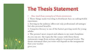 putting it all together part ppt video online  the thesis statement now these examples of thesis statements