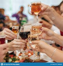Hands Of A Group Of Friends Clinking Glasses Of Wine And Toasting Stock  Image - Image of happiness, dinner: 179301219