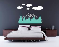 Forest Wall Decal Tree Decal Mountain Wall Decal Mountain Range Decal Pine  Tree Decal Rocky Mountain