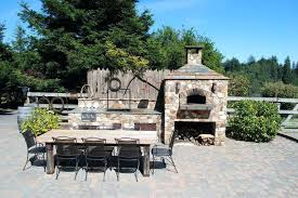 two sided outdoor fireplace three