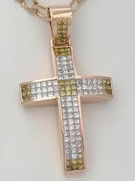 mens 14k rose gold 10 00ct yellow clear diamond cross crucifix pendant 2 61 25g