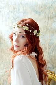 Bridal Flower Crown Rustic Woodland Crown Ivory Flower Headpiece