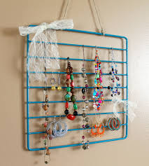 small jewelry holder diy with blue metal frame and sheer white awesome ideas design