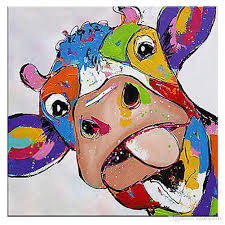 2018 kagree colorful cow head painting cute animal paintings funny wall art decor for living room hotel gift no frame 28x28inch from kg2016