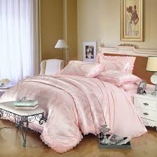 pale pink sequin tribal pattern retro lace design upscale jacquard satin full queen size bedding sets