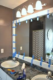 Diy mirror frame ideas Creative Diy Framed Mirrors Bathroom Remarkable How To Frame Out That Builder Basic Mirror For 20 Or Less K3cubedco Framed Mirrors Bathroom Stupefy Diy Mirror Frame With Molding The