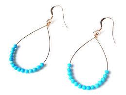summer festival turquoise beads chandelier earrings