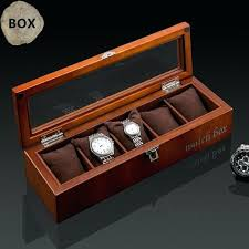 wooden display boxes with glass lid top 5 slots watch coffee wood storage case lock new