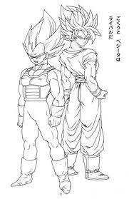 Small Picture Goku and Vegeta Super Saiyan in Dragon Ball Z printable coloring