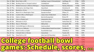 college football bowl games schedule scores times tv channels