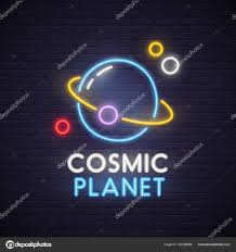 Planet Neon Light Cosmic Neon Sign Bright Signboard Light Banner Space And