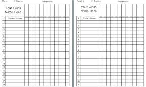 Blank Gradebook Template Metabots Co