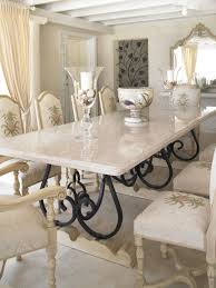 Kitchen:Long White Marble Dining Table Of Large Glass Candle Holders  Between Vintage Fabric Dining