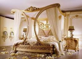 luxury bedroom interior design wooden canopy bed frame lace bed curtains