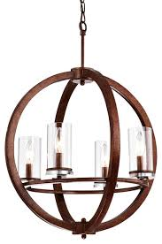 4 light clear glass shade cage global chandelier ceiling fixture antique copper
