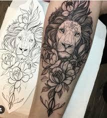 Lion And Rose Tattoo Rosetattooideas Familytattooideas тату